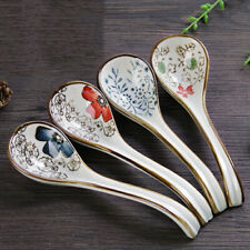 Japanese Soup Spoon Ceramic Glaze Tableware with Long Handle Flatware Cutlery