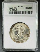 1943 P Walking Liberty Half Dollar Coin ANACS MS62 DDO FS-010.5 Variety Error