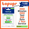 Tracfone Prepaid SIM Card Smartphone Plan GSM + 1 Year 2000 Min/Text 2GB Data