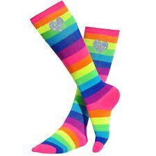 Bubblegum Divas Girls Rainbow Knee High Socks Silver Hearts Kids Long Stockings