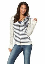 J4688 KangaROOS Damen Sweatjacke mit Kapuze Spitze Hooded Jacket 32/34 Weiß/Blau