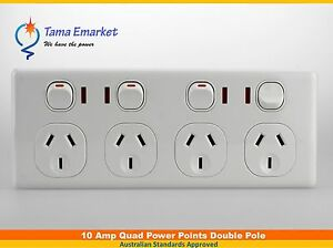 Slim 4 Gang Quad Double Pole GPO with Neon Indicator Outlet 4 Power Point Socket