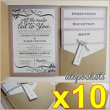 10 X KRAFT WEDDING POCKET INVITATIONS DIY POCKETFOLD ENVELOPES BROWN INVITE
