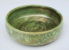 """Vtg Shearwater Pottery Antique Green Bowl 60th Anniversary 5.5"""" James Anderson"""