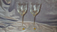 Vintage Etched Wine Glasses Tall Elegant floral design made in Romania 2 9oz ste