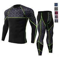 Men's Compression Cool Dry Legging Shirt Gym Workout Base Layers Quick-dry Set