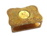 Antique early 20th century brass match box cover portrait of a gentleman