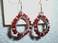"Red glass bead pierced EARRINGS tear drop shape, dangle, silver tone 1"" x 3/4"""