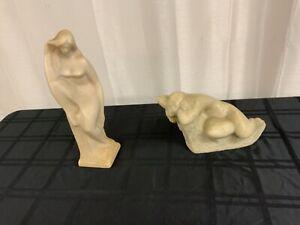 "Rare  Vintage Sculptures 2 ""The Nude"" 1960's V. Glinsky Statue / Carving (LA47)"