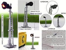 N.1 SEMAFORO BLOCCO TRENI SIGNAL TRAIN mm.33 12Vcc a 1 COLORE LED ROSSO SCALA-N