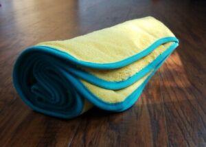 Norwex KIDS BATH TOWEL YELLOW w/ BLUE TRIM Soft Absorbent Microfiber BacLock NEW