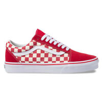 "Vans ""Primary Check Old Skool"" Sneakers (Racing Red/WH) Skate Checkerboard Shoes"
