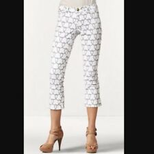 CAbi Style #761 Size 4 Nautical Rope Print Cropped Bootlet Jeans White & Black