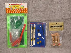 3 VINTAGE DOLLHOUSE MINIATURE SPORTS EQUIPMENT ITEMS IN UNOPENED PACKAGES