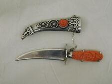 CARVED CORAL STERLING KNIFE PIN SCABBARD SCIMITAR BROOCH VINTAGE STUNNING RARE