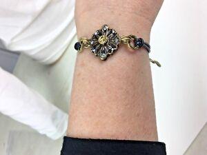 Michal Golan 24K Art Deco Snowflake Bracelet + leather cord adjustable Handmade