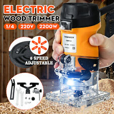 2200W 1/4 Electric Hand Machine Trimmer Palm Woodworking Router Joiners Wood Cut