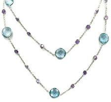 Blue Topaz 9 mm & 3 mm Amethyst Necklace,14k White Gold Chain 34 Inches Long