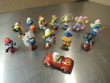 Lot of (12) Vintage Smurfs Figurines / Figures and a Smurfette Car
