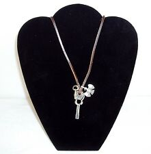 "Necklace ~Guitar, Key & Phoenix  3 Metal Pendants  21"" Leather NEW ~  #5410130"