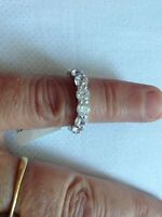 "STERLING SILVER R/P CLR CZ FULL ETERNITY RING SIZE ""H"" (BARGIN)"