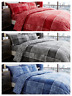 Denim Square Check Duvet Quilt Cover & Pillow Case Bedding Set Grey Blue Red