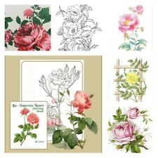 Adult Coloring Books For Women Men Kids Flowers Drawing Roses Painting Art Relax