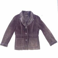 Guess Womens Brown Suede Leather Jacket Size Medium Designer Warm Winter Coat M