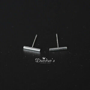 925 Sterling Silver Tiny Stick Bar Stud Earrings