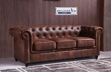SPL price-Chesterfield Sofa Distressed Rustic Tan Leather 3+3 Seater upholstered