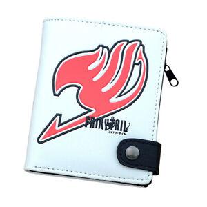 Anime Fairy Tail White PU Leather Cartoon Zipper Wallet Purse Clip Birthday Gift