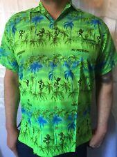 Mens Lime Green Blue Palm Tree Print wedding stag do Caribbean Hawaiian shirt L