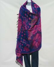 Yak+Sheep Wool|Flora|Shawl/Throw/Wrap |Handloomed|Reversal|Base Color: Blue