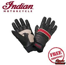 GENUINE INDIAN MOTORCYCLE MEN'S RETRO LEATHER GLOVES BLACK RED NEW SCOUT CHIEF