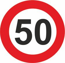50 SPEED LIMIT 5 INCH CIRCULAR  SELF ADHESIVE STICKER/SIGN -WATERPROOF-CARS/VANS