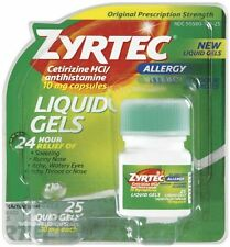 Zyrtec 10mg Cetirizine Antihistamine 24 Hour Relief - 25 Liquid Gels Each