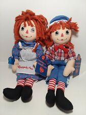 """2004 Hasbro Applause 14"""" Raggedy Ann & Raggedy Andy Dolls With Tags, 25 Years"""