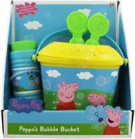 Peppa Pig de Peppa Burbuja Cubo & 3 Formado Burbuja Varitas Playset de Juguete