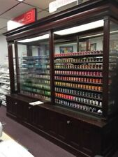 Ribbon Spool Display Cabinet Counter, Wood Showcase Shelving, Ribbon Dispenser,