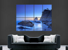 NATURE SEA POSTER ROCKS GLOW BEACH TREES LANDSCAPE IMAGE HUGE LARGE WALL ART