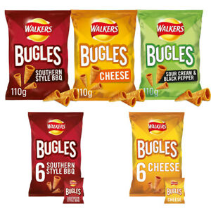 Walkers Bugles Sour Cream Black Pepper Southern Style BBQ Cheese Snacks Crisp