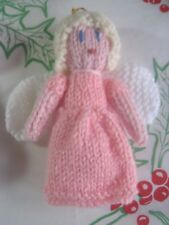 HAND KNITTED PINK DRESS ANGEL TREE  DECORATION. 5 INCHES TALL.