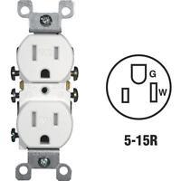 6-Leviton 15A White Tamper & Weather Resistant 5-15R Duplex Outlet R62-W5320-T0W
