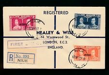 NIUE KG6 1937 CORONATION FIRST DAY COVER REGISTERED...HEALEY + WISE ENVELOPE