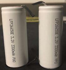 "Brand New ""2""  LFP26650E LiFePO4 26650 3.2V 3300mAh Rechargeable Battery w/ tabs"