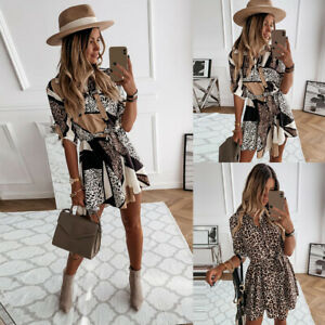 UK Women Leopard Print Shirt Dress Long Sleeve Button Ladies Casual Ruffle Dress