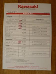 K291 KAWASAKI  BROCHURE PRICELIST PRIJSLIST 2007 DUTCH 1 PAGE