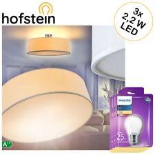 Decken Lampen Gold Stoff inkl 3 Philips LED Leuchtmittel 5,5W Ø60cm Wohn Zimmer