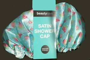 Satin Shower Cap Waterproof Rose Print One Size BNWT by BeautySave
