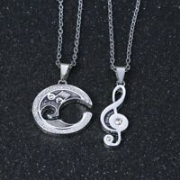 Hot Couple Silver Women Men Music Note Crystal Pendant Necklace Chain Jewelry